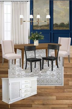 Modern traditional dining room makeover plans and mood board with inspiration for classic scenic wall murals and picture frame molding. Dining Table Makeover, Oak Dining Table, Dining Chairs, Modern Traditional, Modern Classic, Classic Dining Room, Picture Frame Molding, Board And Batten, Weathered Oak