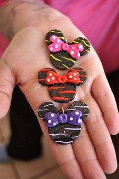Minnie Mouse polymer clay pendant / charm by Fairmaidencreations, $3.00. 1-1/2 x 2 inches.