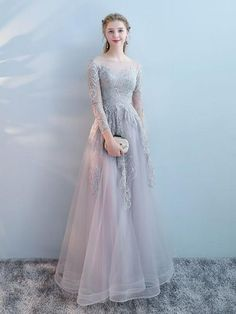 54f32845ca Chic a-line bateau tulle modest silver long prom dress evening dress