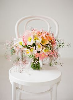 Icelandic poppy bouquet with pink jasmine by Flower Talk