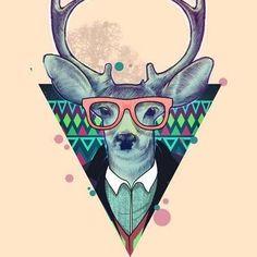 Hipster Deer Triangle Tattoo Design