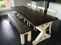 Build a stylish kitchen table with these free farmhouse table plans. They come in a variety of styles and sizes so you can build the perfect one for you. Farmhouse dining room table and Farm table plans. Farm Table With Bench, Farm Tables, Farm Table Diy, Farm Style Table, Dining Tables, Dining Bench, Dining Ware, Rustic Table, Side Tables