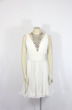 1960s Vintage Dress - Jack Bryan White Accordion Pleated Chiffon HEAVILY BEADED Plunging Neckline