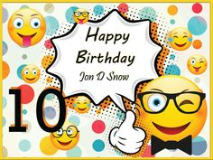 Emoji Birthday Poster With Glasses Fun Party Banner Decoration 100001