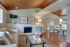 small living rooms with wood vaulted ceilings - Google Search