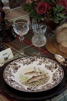 Holiday dining (Spode 'Woodland' china pattern & Tartan tablecloth) - Ana Rosa