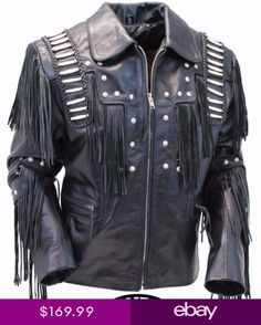 bea7b0a6d9 Traditional Mens Western Leather cowboy Jacket coat with fringe bones and  beads