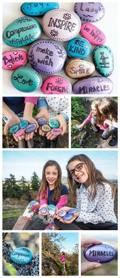 Word Rocks - Paint several of rocks with inspirational words and leave them at random places for people to find. A great activity for kids. Fun for the hiders and the finders.