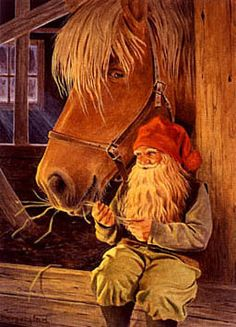 Gnome giving hay snack to friend - Jan Bergerlind
