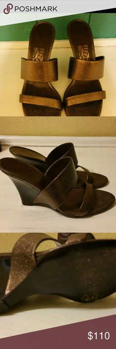Salvatore Ferragama Metallic  Wedges Copper wedges great  condition other then some minor abrashion on soles. No box size 8A Salvatore Ferragamo Shoes