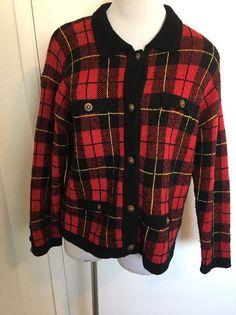 Womens Ann Taylor Red Wool Plaid Cardigan Sweater Medium #AnnTaylor #Cardigan