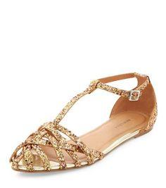 Gold Glitter Caged T-Bar Sandals
