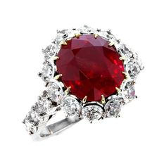 Garrard 1735 Platinum GIA Oval Ruby Diamond Cluster Engagement Cocktail Ring For Sale at Ruby Engagement Ring Vintage, Ruby Wedding Rings, Cushion Cut Engagement Ring, Deco Engagement Ring, Engagement Rings Round, Ruby Diamond Rings, Diamond Cluster Ring, Diamond Cuts, Ruby Rings