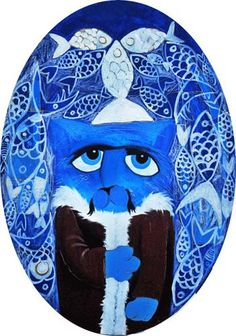 Fish me Luck blue / Cattoman Empire.       Oil on Canvas - 35x75cm. Oval