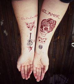 day of the dead set 15 tattoos  Sugar skull by Berlinroses on Etsy, $14.00