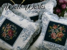 Blue and white toile  salvaged needlepoint pillow slips~~ #blueandwhite #toile #needlepointpillow #bluetoile