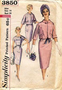 1960's VTG Simplicity Misses' Dress and Jacket Pattern 3850 Size 14 UNCUT