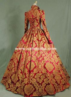 Brand New Print Brocade Long Victorian Tudor Jacquard Period Dress Century Ball Gowns Costume Gown Pictures, Costumes Pictures, Ball Dresses, Ball Gowns, Civil War Dress, Costumes For Sale, Dress Picture, New Print, Historical Costume