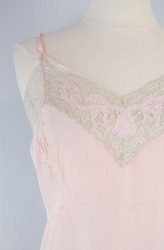 vintage lingerie / 1940s slip / half slip / peach / lace trim / large / plus size. $65.00, via Etsy.