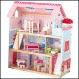 The Kidkraft Chelsea Dollhouse is made of wood with 3 levels of open space, 2 staircases, windows that open and close, 19 pieces of furniture, including a piano and more. The Kidkraft Chelsea Dollhouse accommodates mini dolls.