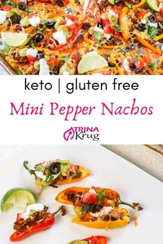 Mini Pepper Nachos | Spice up your snack or party appetizer with these low carb gluten free mini pepper nachos! Loaded up and ready to eat! | Keto Nachos | Keto Appetizer | Gluten Free Appetizer | Visit trinakrug.com/keto-recipes Cold Party Appetizers, Appetizers For Kids, Gluten Free Appetizers, Low Carb Appetizers, Gluten Free Dinner, Appetizer Recipes, Free Keto Recipes, Baby Food Recipes, Vegetarian Recipes