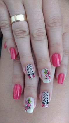 French Manicure Designs For Short Nails Valentines Day Ideas Pink French Manicure, French Manicure Designs, Pink Manicure, Nail Art Designs, How To Do Nails, Fun Nails, Silver Nails, Flower Nail Art, Nail Envy