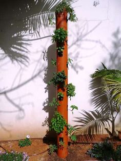 DIY Organic Vertical Planter - I think I'd use just flowers or strawberries and perhaps lay it down for veggies.
