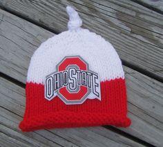 OHIO STATE BUCKEYES Baby Hat, Knit Baby Hat, Ohio State Baby Hat, Buckeyes Baby Hat, Baby Hat, Basketball Baby Hat, Knitted Baby Hat by UpNorthKnits on Etsy https://www.etsy.com/listing/260117277/ohio-state-buckeyes-baby-hat-knit-baby