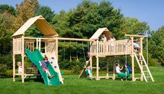 Play-a-Round Frontier Fort Wood Swing Set, Jungle Gym, Childs Fort | CedarWorks