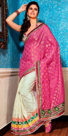 Classic Cream and Pink Banarasi Silk Silk Saree - IG9054 USD $ 84.76