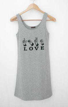 LOVE Text  Women Singlet  Tank Top Mini Dress  by simladytshirt, $16.99