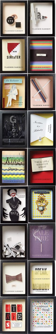 Nabokov books, multiple designers. @ http://flavorwire.com/238996/15-gorgeous-book-cover-redesigns/5