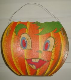 Vintage Halloween Ephemera ~ Jack O' Lantern Luminary w/ Wire Handle