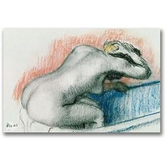 Trademark Fine Art Woman Washing in the Bath Canvas Art by Edgar Degas, Size: 22 x 32, Multicolor