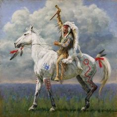 Native American Man on horseback art