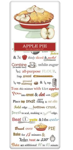 Old Fashioned Apple Pie Recipe 100% Cotton Flour Sack Dish Towel Tea Towel