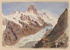 "John Singer Sargent (American, 1856–1925). Schreckhorn, Eismeer (from ""Splendid Mountain Watercolours"" Sketchbook), 1870. The Metropolitan Museum of Art, New York. Gift of Mrs. Francis Ormond, 1950 (50.130.146f recto) #snow"