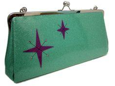 Retro Sparkle Vinyl Purse - Starburst Turquoise and Purple Metal Flake Glitter Vinyl Rockabilly Handbag