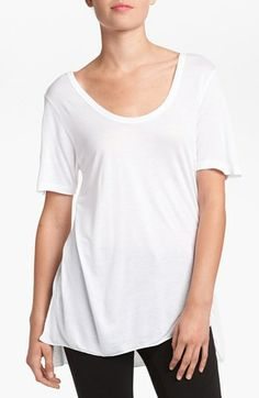 Leith Split Hem Tunic Tee available at #Nordstrom - white, black