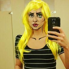 Roy Lichtenstein inspired pop art comic makeup for Halloween costume