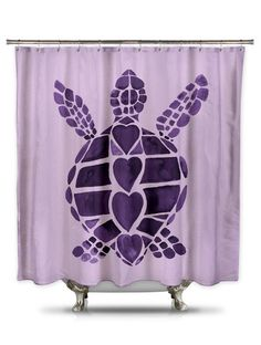 Turtle Love Purple Shower Curtain by Catherine Holcombe, purple turtle – showercurtainhq.com