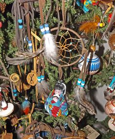 The Native American Christmas Tree is filled with hand made ornaments celebrating the Native American crafts and culture. Description from pinterest.com. I searched for this on bing.com/images