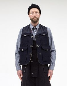 7b36450b0224 CAMERAMAN VEST CONVERSE SPECIAL BLACK NAVY Vest Jacket