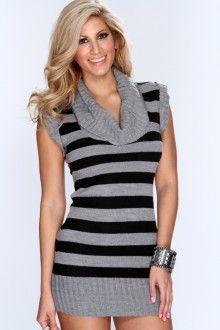 Grey Black Cowl Neck Two Tone Sweater Dress