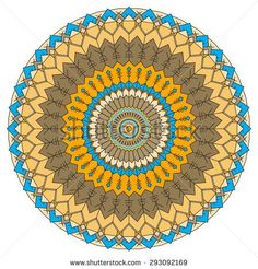 Hand-drawing ethnic ornamental round abstract background with many details for use in design of silk neckerchief or printing on textile or use for card, invitation or banner cover Raster copy - Shutterstock