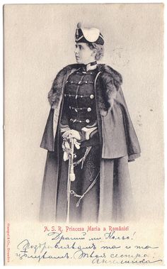 Crown Princess Marie of Romania wearing the uniform of the 4th Rosiori (light cavalry / red hussars) Regiment as Colonel-in-Chief.  She was the honorary commander of this unit.