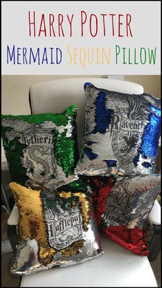 Oh my! Mermaid sequins AND Harry Potter! This must be a magical combination. I love these Hogwarts House pillows!  #ad #affiliate #etsy #harrypotter #harrypotterfan #oybpinners #harrypotterdecor #decoration #hogwartshouses  #pillowcases #pillowcover #interiordecor