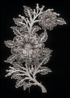 Brooch with Floral Motif and Butterfly, Kerala, India (Southern and Tamil Nadu, made), c. 1853, silver filigree, Height: 10.2 cm