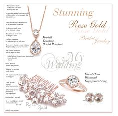 """""""Rose Gold Bridal Bling"""" by sherrifitzgerald ❤ liked on Polyvore featuring bride, wedding, jewelry and bridal"""
