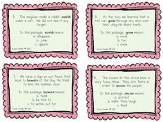 """$4 Literacy Center Ideas:  Context Clues can be hard for students to grasp. Make it fun and make it repetitive and watch how they get the hang of it.  Post these task cards around the room.  Have your kiddos circulate with paper and clipboard numbered 1-20, and have them work individually or with a partner to figure them out.  Then go over the answers, then take a pole and ask, """"Who got at least 10? Who got at least 12?"""" See who will be """"context clue champion."""" www3rdgradegrapevine.blogspot.com"""